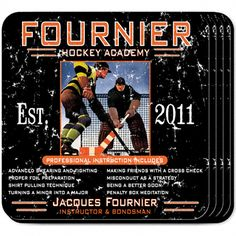 """Hockey Academy Personalized Bar Coaster Set. The hockey enthusiast will appreciate these sets of four richly detailed, waterproof coasters, which reflect his fave activity. Our personalized coasters are a perfect accessory to any bar or family room. Our Hockey Academy Personalized Beverage Coaster Set's personalized design is printed in full color onto a non-skid cork base. Includes 4 coasters and mahogany caddy for storage. Each coaster measures 3.75"""" x 3.75"""". Specify name, and year."""