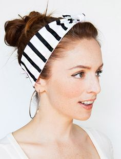 Black and White Stripes Headband - Pinup bandana Accessories Women's Fashion Pattern Hair Nautical Style Cute Retro Vintage Bow Head Sailor on Etsy, $9.00