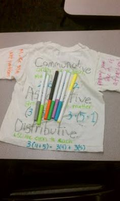 activity/project idea: students create their own t-shirt design for a specific math property. They must create a slogan that has to do with the property, a picture, an algebraic and numeric example of the property.