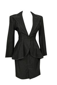 Vintage Patrick Kelly Denim Suit.  Make a ponte black suit like this with peplum top and pencil skirt.  Lots of pearls in neckline.  But of course also a tank top to fill in.