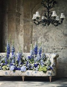 A couch filled with a delphinium floral arrangement. Arte Floral, Deco Floral, Of Wallpaper, Ikebana, Flower Designs, Flower Art, Floral Arrangements, Flower Arrangement, Beautiful Flowers