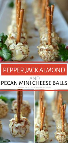 Make-ahead Cheese Ball Bites perfect as an to your game days and holiday parties! These Pepper Jack Almond and Pecan Mini Cheese Balls are the best fall snacks for a party that requires only about twenty minutes of your time! Save this holiday appetizer! Fall Appetizers, Make Ahead Appetizers, Appetizer Recipes, Best Holiday Appetizers, Dinner Recipes, Holiday Snacks, Cheese Appetizers, Christmas Snacks, Healthy Appetizers