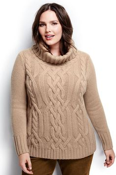 Women's Merino Blend Cable Cowl Neck Sweater