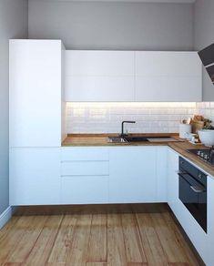 Kitchen Room Design, Interior Design Living Room, Kitchen Decor, L Shaped Kitchen Designs, Small Floor Plans, Room Partition Designs, Modern Kitchen Interiors, Scandinavian Kitchen, Apartment Kitchen