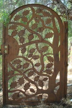 METAL ART GATE PEDESTRIAN WALK THRU OAK LEAF RUST WROUGHT IRON STEEL GARDEN