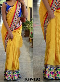 Buy Nylon Silk Georgette Yellow Replica Saree