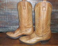 LAREDO Abby Cowgirl Deertan Brown Leather Cowboy Western Boots Women's 6M #51080 #Laredo #CowboyWestern