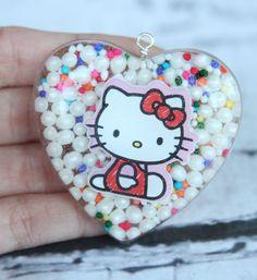 Handmade Hello Kitty Inspired Kawaii Resin Heart Pendant Sprinkles