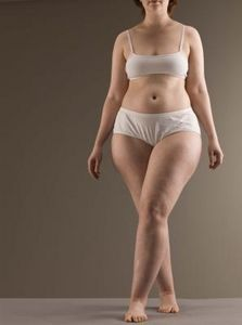 This is pear shape: small upper body, FLAT tummy, wide hips