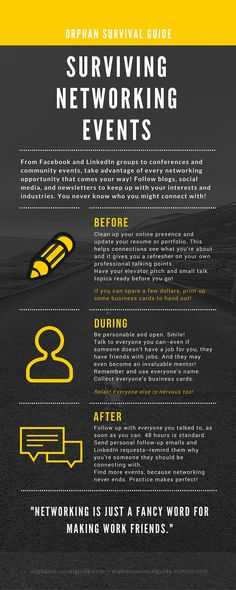 orphan survival guide - surviving networking events tips infographic Networking Events, Business Networking, Marketing Program, Online Marketing, Fashion Marketing, Marketing Ideas, Survival Guide, Survival Skills, Survival Quotes