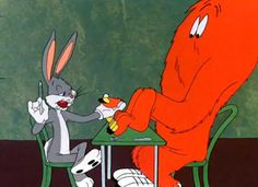 """""""Hair-Raising Hare"""" (May 25, 1946) Director: Chuck Jones -  """"Uh-oh: Think fast, rabbit!"""" Bugs is lured to the castle of an evil scientist (a Peter Lorre look-alike), where he must escape the clutches of a large, hairy orange monster wearing tennis shoes. Fortunately for Bugs, he is able to divert his adversaries' attention on a dime, such as when he decides to give the monster a manicure."""