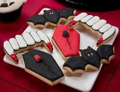 cookies made with the Wilton 3-Piece Halloween Cookie Cutter Set - idea only, with a link to the cookie cutters
