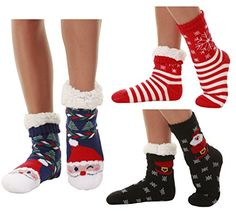 WinterWeight Thermal FleeceLined Cozy Christmas Holiday Sherpa Lined Slipper Socks 3 Pair Pack * To view further for this item, visit the image link.