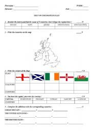 English worksheet: THE BRITISH ISLES - an A1 test