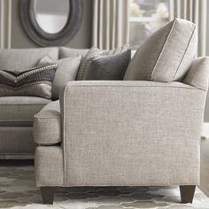 Custom Upholstered Medium L-Shaped Sectional by Bassett Furniture. Customize your item with over 1,000 fabric options.