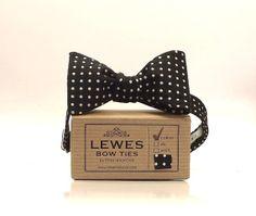 Men's bow tie  black and white polka dot by DinaMalkova on Etsy, £28.00