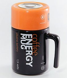 Quirky Coffee Energy Battery Mug Unique Coffee Mugs, Cool Mugs, Coffee Art, My Coffee, Coffee Cups, Tea Cups, Coffee Thermos, Teapots And Cups, Kitchen Gadgets