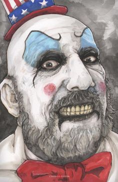 My favorite character from any horror movie ever The Captain! Checkout my other art----> Vist my ETSY! House of 1000 Corpses Captain Spaulding Gruseliger Clown, Clown Horror, Creepy Clown, Zombie Movies, Scary Movies, Horror Movie Characters, Horror Movies, Rob Zombie Art, Zombie Kunst