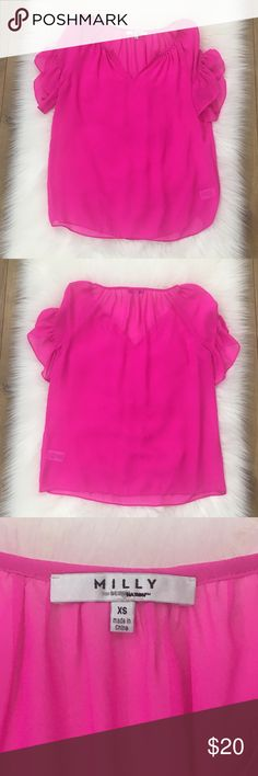 """Milly Hot Pink Sheer Short Ruffle Sleeve Blouse Milly For Design Studio Hot Pink Sheer Short Ruffle Sleeve Blouse. In excellent used condition.  Size XS. Measurements Laying Flat: Bust 18"""" Length 24"""" Milly Tops Blouses"""