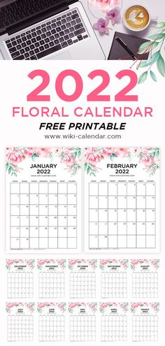 Floral Calendar 2022 Portrait Monthly Calender, 2020 Calendar Template, Printable Blank Calendar, Custom Calendar, Print Calendar, Calendar 2020, Floral Printables, Free Printables, Printable Templates