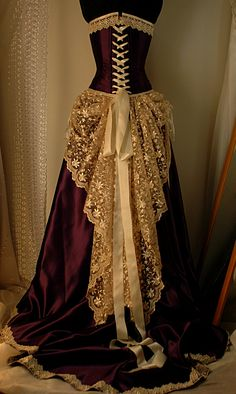 deep purple/cream/wedding dress/victorian steampunk or goth
