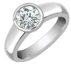 18k White Gold Bezel Set Diamond Ring (SI/H-I, 1/2 ct. tw.)