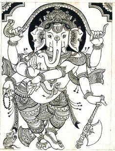 Art print - ganesha line drawing 2 - (b & w) bijay parida Ganesha Drawing, Ganesha Painting, Ganesha Art, Madhubani Painting, Krishna Art, Kalamkari Painting, Lord Ganesha, Black Canvas Paintings, Indian Art Paintings