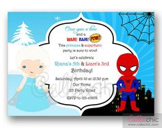 Twin / joint birthday party invitation in Elsa (Frozen) and Spiderman inspired theme. Princess and Superheroes. Sibling Birthday Parties, Elsa Birthday Party, Joint Birthday Parties, Twin Birthday, Frozen Birthday Party, Birthday Party Themes, Birthday Ideas, Spiderman Birthday Invitations, Printable Birthday Invitations
