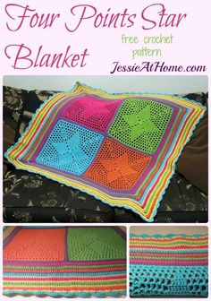 Four Points Star Blanket - free crochet pattern by Jessie At Home: