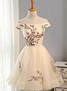 Custom Made Glorious Short Off Shoulder Straight Neckline Embroidery Tulle Short Homecoming Prom Dresses, Affordable Short Party Prom Sweet 16 Dresses, Perfect Homecoming Cocktail Dresses, Pretty Homecoming Dresses, Pretty Dresses, Beautiful Dresses, Prom Dresses, Formal Dresses, Casual Dresses, 1960s Dresses, Graduation Dresses, Dress Prom