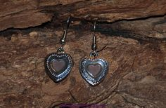 Pewter and enameled heart earrings by Catinas on Etsy, $5.00