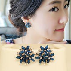 2015 fashion crystal stud earrings 3 flower red blue black green brincos pendientes earrings for women E2234-in Stud Earrings from Jewelry & Accessories on Aliexpress.com | Alibaba Group