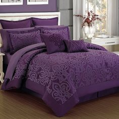 Dress your bed in elegance with the beautiful Curtis Damask Comforter Set. Adorned with a unique transitional ironwork motif, the deep plum bedding instantly adds an opulent look to any room& décor. Plum Bedding, Purple Comforter, Purple Bedding Sets, Bedroom Comforter Sets, Queen Bedding Sets, Luxury Bedding Sets, Turquoise Bedding, King Comforter, Purple Master Bedroom