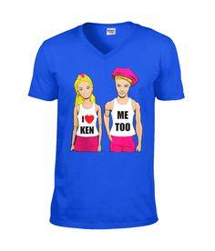 I Love Ken, Me Too! Funny, Gay V Neck TShirt Gay Pride, Mardi Gras, Slogan, Funny Tshirts, Stuff To Do, Plastic, V Neck, My Love, Pattern