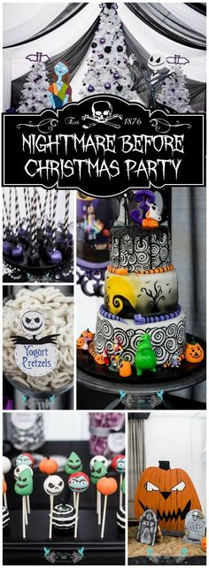 Love this amazing Nightmare Before Christmas birthday party! See more party ideas at ! Christmas Birthday Party, Christmas Baby Shower, Halloween Birthday, Disney Halloween, Baby Halloween, Halloween Treats, 3rd Birthday, Birthday Parties, Birthday Ideas