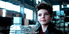 gif - scene tv serie - Cat woman girl, Carren bicondova actress, saying: What is up?