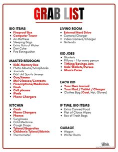 A Grab List is an essential part of a Emergency Kit.things that aren't realistic to have packed and ready to go, but are extremely important. Don't wait until you are in the moment to think through what you should take! 72 Hour Emergency Kit, 72 Hour Kits, In Case Of Emergency, Emergency Preparation List, 72 Hour Kit List, Family Emergency Binder, Emergency Bag, Emergency Planning, Emergency Management