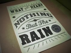 Nothing but the rain. BSG
