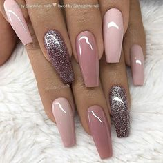 60 Trendy Glitter Coffin Nail Designs Glitter may remind you of twinkling stars in the dark but glitter nails can be surprisingly complex The glitter sequins embellish a. Best Acrylic Nails, Acrylic Nail Designs, Nail Art Designs, Nails Design, Mauve Nails, Gel Nails, Manicure, Glitter Nails, Gold Glitter