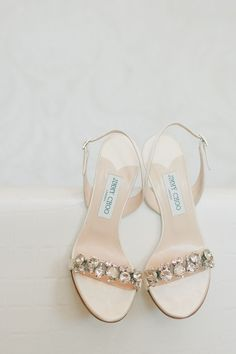 Bedazzled Jimmy Choo shoes -- See the wedding here: http://www.StyleMePretty.com/california-weddings/2014/05/15/pink-and-gold-wedding-at-the-london-west-hollywood/ onelove photography - onelove-photo.com on #SMP