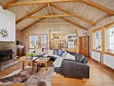 Rustic living room in a Swedish house, situated on a  27 000 sqm peninsula at the Swedish west coast.