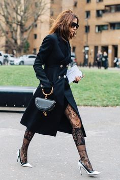 London Fashion Week Street Style. Black Lace Nylons + Long Coat