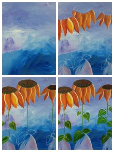 "Evolution of ""Three Sunflowers"" painted @ Painting with a Twist Ft. Lauderdale."