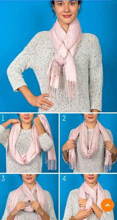 Who knew that you can do these things with your scarf? Ways To Tie Scarves, Ways To Wear A Scarf, How To Wear Scarves, Scarf Wearing Styles, Scarf Styles, Scarf Knots, Diy Scarf, Autumn Fashion 2018, Neck Scarves