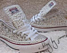 02cf63505597 Converse de bling y perlas personalizado adultos Wedding Converse