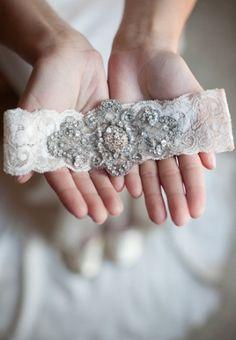 Vintage Crystal Wedding Garter by emilyriggsbridal