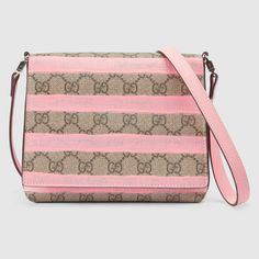 Gucci Children's GG messenger with pink stripes and leather trim. Gucci Brand, Gucci Kids, Striped Bags, Canvas Messenger Bag, Kids Bags, Brown Bags, Girls Shopping, Luxury Branding, Kids Fashion