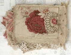 Mixed Media Fabric Collage Book of Red Roses for Christmas | eBay