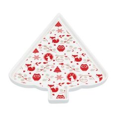 Kitchencraft Porcelain Tree Shaped Plate, White/Red