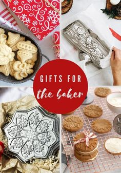 Find stunning gift ideas for any baker with our holiday- themed bakeware pans and cookie stamps.
